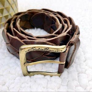 Other - BELT Vintage Leather Braided Rope Dark Brown Belt